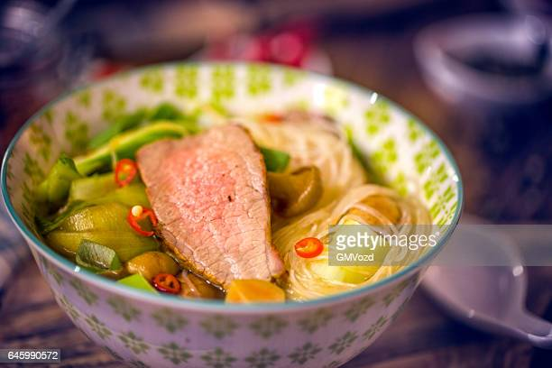 Asian Glass Noodle Soup with Beef and Bok Choy