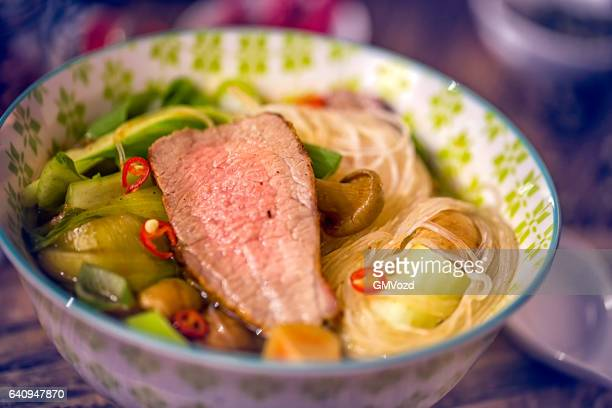 Asian Glass Noodle Soup with Beef and Pak Choi