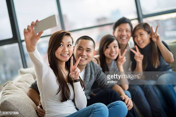 Asian group talking a selfie