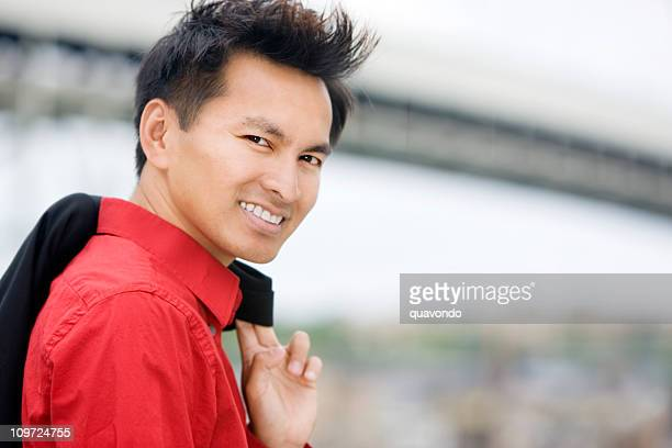 Asian Handsome Business Man Portrait Outside, Copy Space