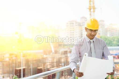 76e86cb147e Asian Indian Male Contractor Engineer Inspecting At Site Stock Photo ...