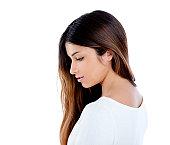 Asian indian profile girl brunette long hair portrait