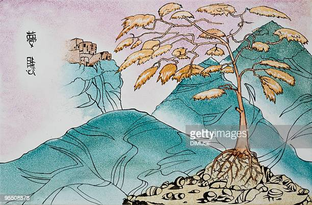 Asian Inspired vintage hand drawn mountain landscape