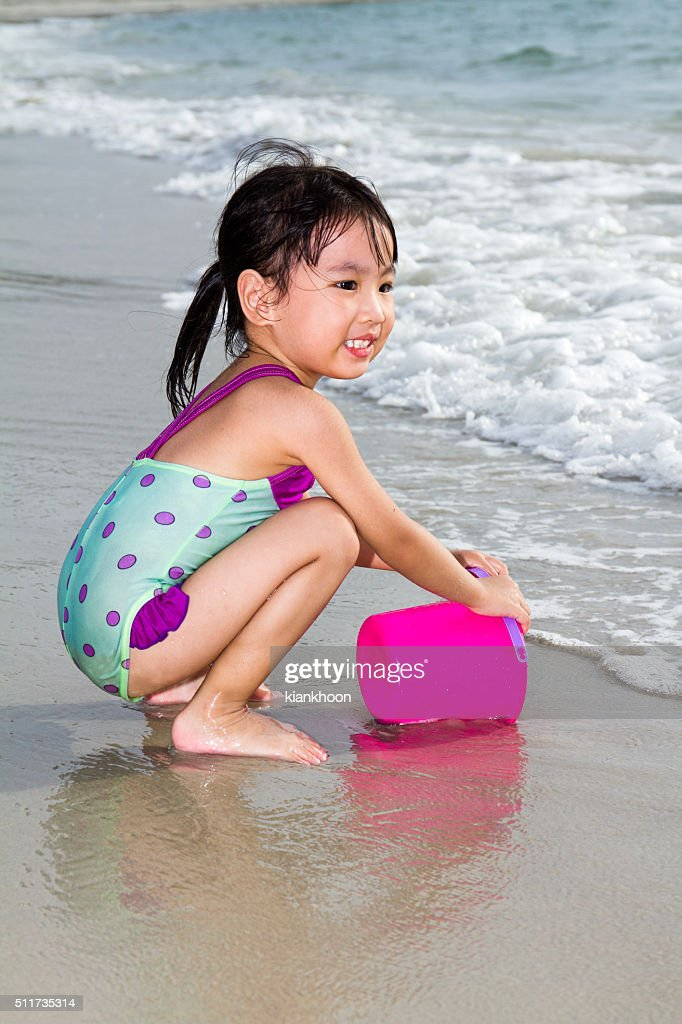 Almost same. chinese girl on beach