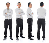 Full body arms folded Asian businessman in different angle, front, side and rear view. Standing isolated on white background. Asian male model.