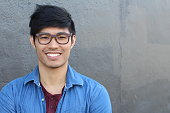 Asian Man Portrait Smiling Isolated with copy space.