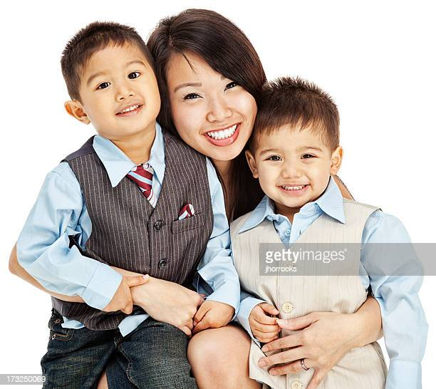 Asian Mother and Sons on White