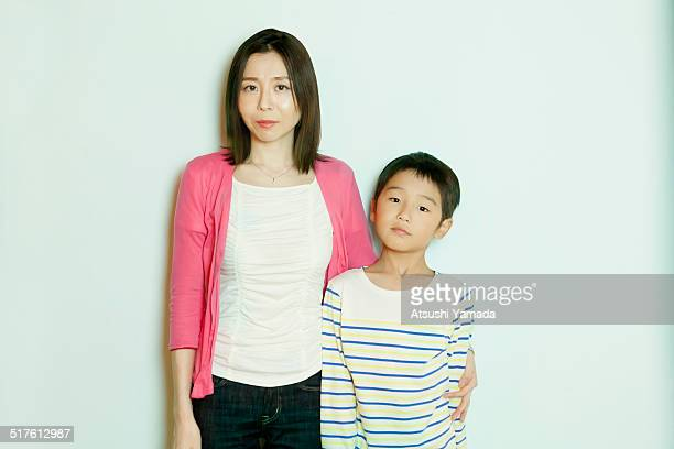 Asian mother and son,white background