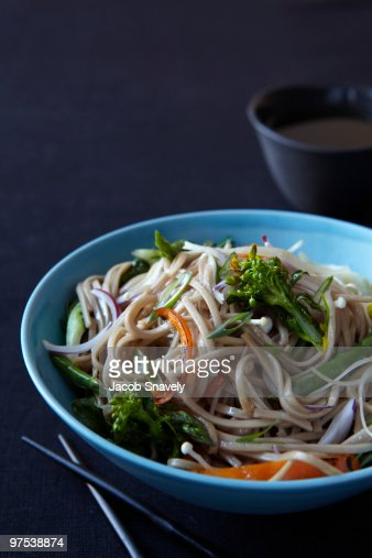 Asian noodle and veggie bowl : Stock Photo