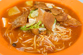 Close up of Asian noodle, mee jawa which is famous among Malaysians, Singaporeans and Indonesians