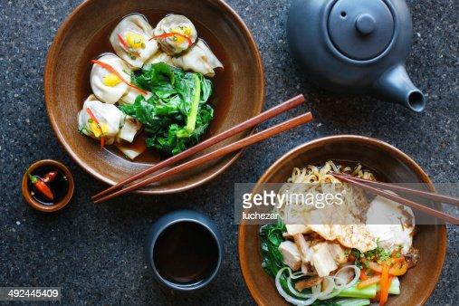 Asian noodles and dumplings