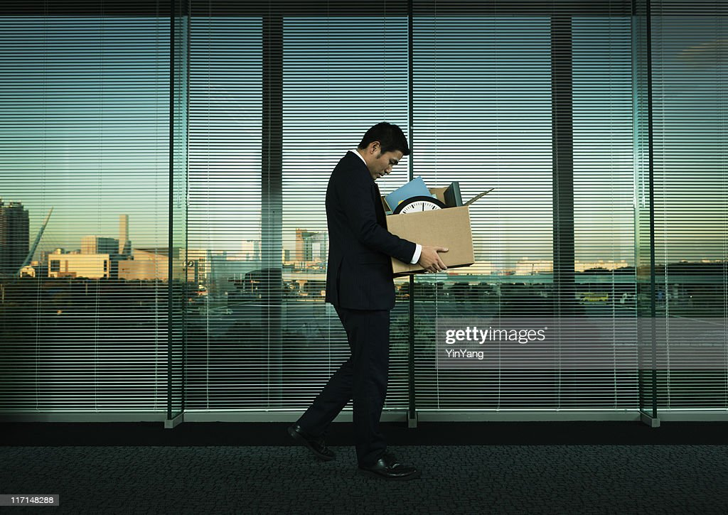 Asian Office Worker Leaving His Job in Layoff for Recession