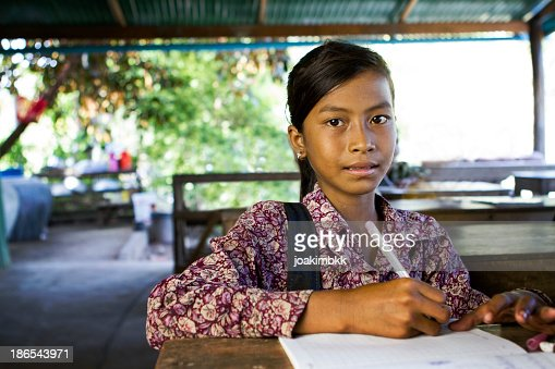 Asian school girl at school