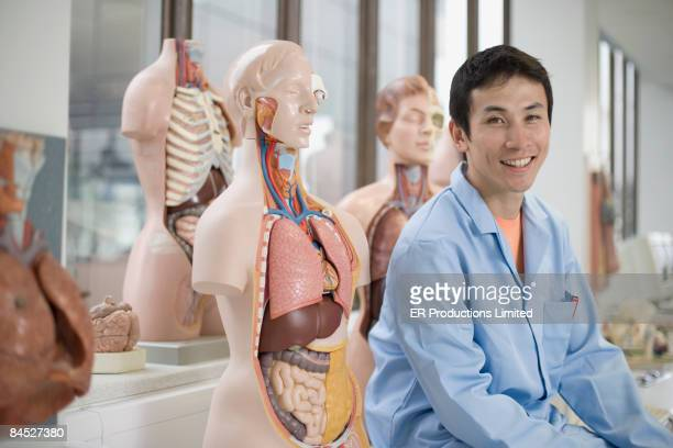 Asian scientist sitting with anatomical models