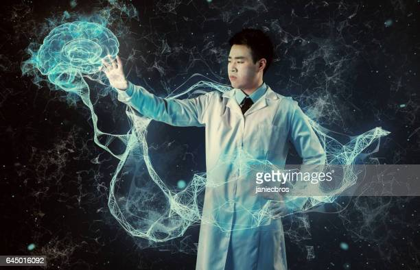 Asian scientist working with virtual reality. Medical research