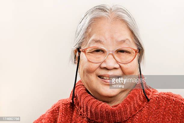 Asian Senior Woman in 80s, Cheerful, Happy Retired Chinese Grandmother