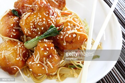 Asian Sesame Chicken with Noodles : Stock Photo
