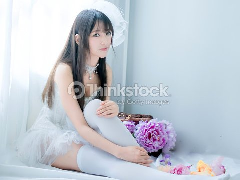 84beeda61ebd asian sexy underwear girl lady japanese style with flowers : Stock Photo