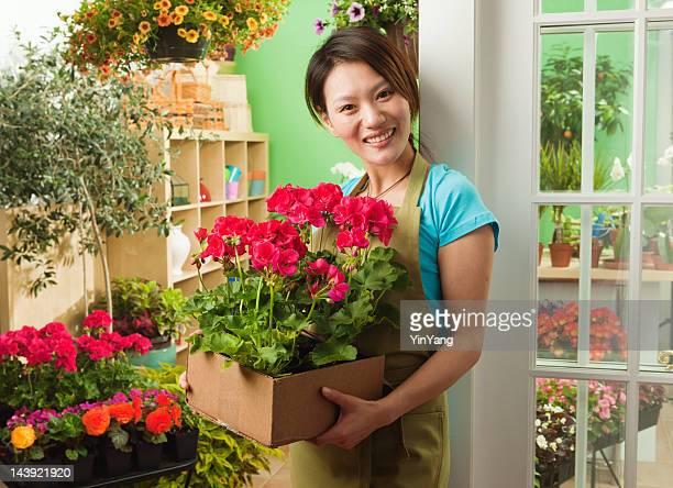 Asiatische Kleinunternehmen Eigentümer Retail Flower Garden Shop Hz