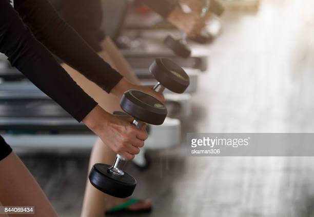 asian sporty female workout weight training foe keep fit with dumbbell  at gym