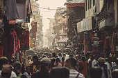 KATHMANDU, NEPAL - OCTOBER 10 - Asian street life. One of the crowded streets on October 10, 2011 in Kathmandu Nepal.