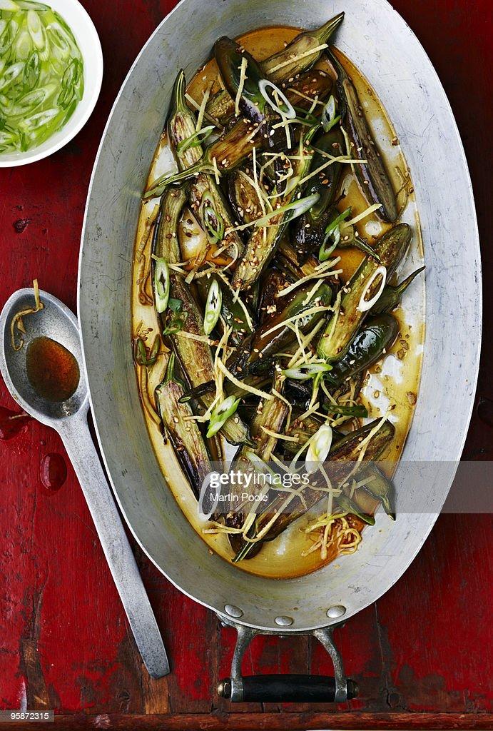 Asian style marinated aubergines : Stock Photo