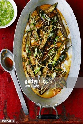 Asian style marinated aubergines : ストックフォト