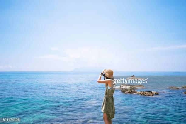 Asian Tourist in Japan, Nagata Inakahama Beach, Yakushima, Japan
