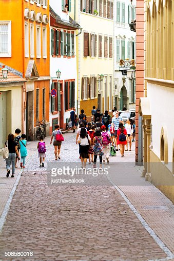 Asian tourists in Heidelberg : Stock Photo
