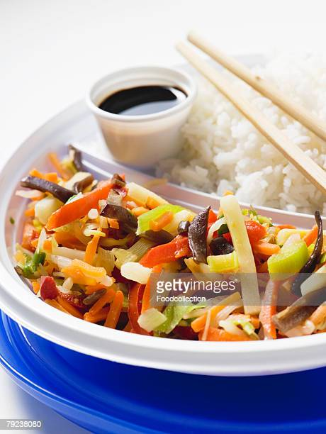 Asian vegetable stir-fry with rice