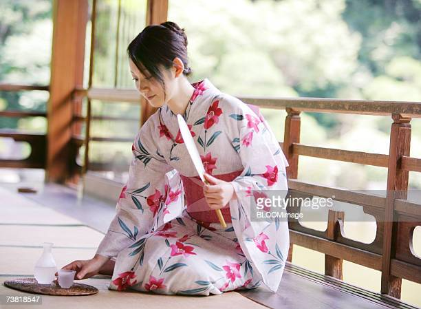 Asian woman dressed in yukata