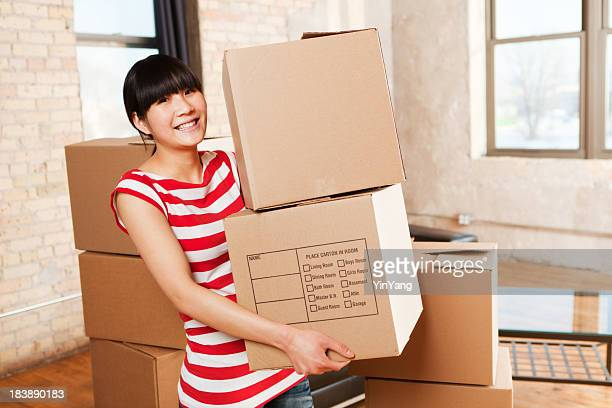 Asian Woman Moving House Box Containers for Apartment Home Storage