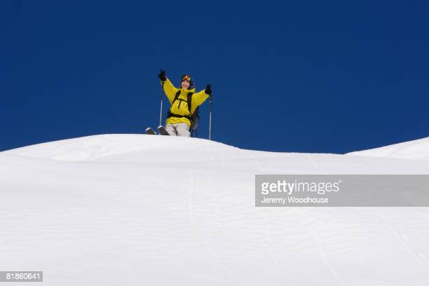 Asian woman on skis