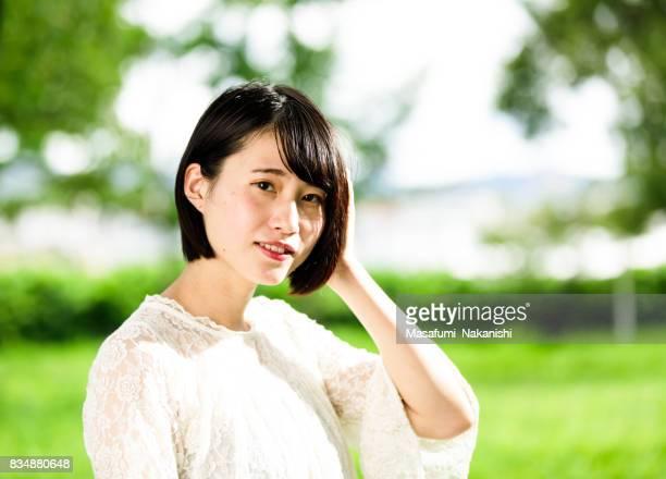 Asian woman portrait in fresh green
