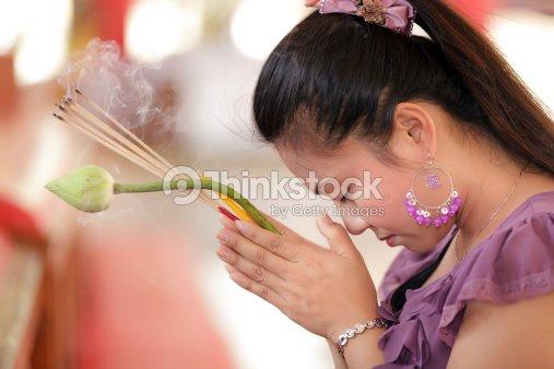 asian woman praying : Stock Photo