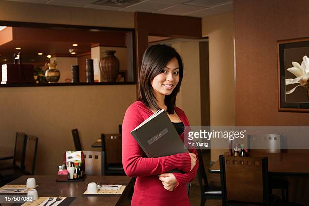 Asian Woman Restaurant Small Business Owner, Host or Maitre D