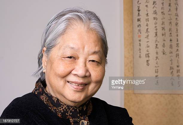 Asian Woman, Retired Chinese Senior Smiling, Head and Shoulders Portrait