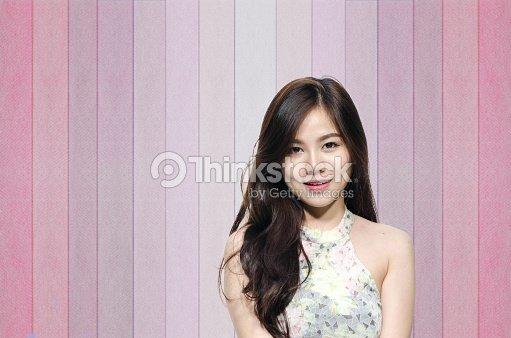 Asian Woman Smiling With Dimple Long Hair Foto De Stock Thinkstock