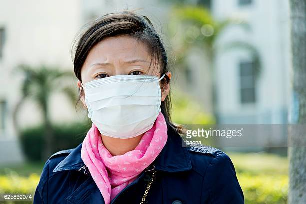 Asian woman with protective mask