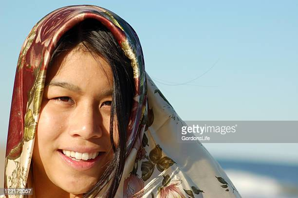 Asian Woman with Scarf