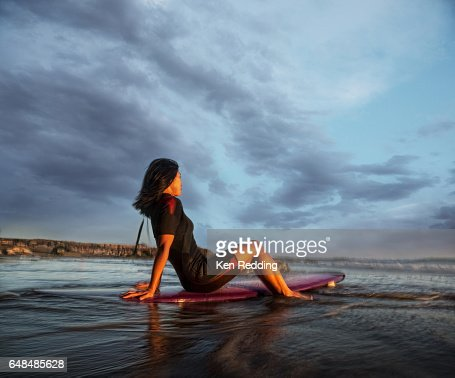 Asian Woman with Surfboard : Photo
