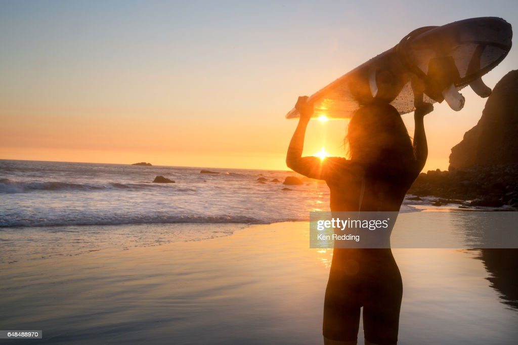 Asian Woman with Surfboard : Foto stock