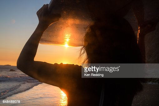 Asian Woman with Surfboard : Stock Photo