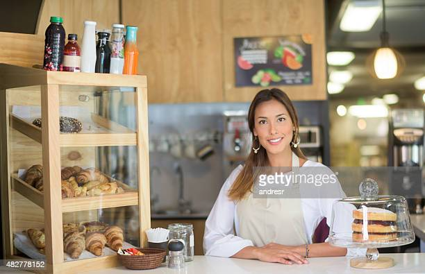 Asian woman working at a cafe