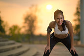 Asian women break from jogging