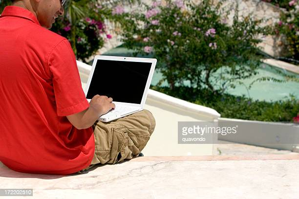 Asian Young Man Using Laptop Outside, Copy Space