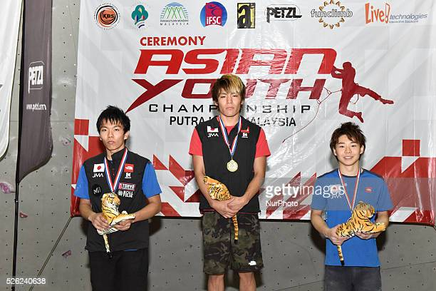 Asian Youth Championship 2015 Putrajaya Malaysia on December 26 2015 Male juniors boulder Gold TOMOA NARASAKI Silver YUKI HADA Bronze HIROTO SHIMIZU