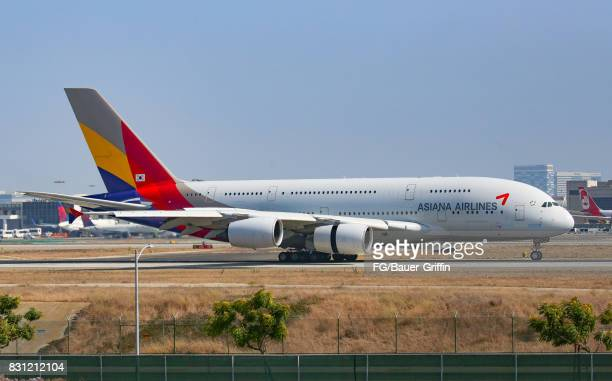 Asiana Airlines Airbus A380 at Los Angeles international Airport on August 13 2017 in Los Angeles California