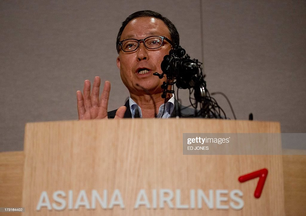 Asiana Airlines CEO Yoon YoungDoo delivers a statement prior to leaving for San Francisco at the company's headquarters in Seoul on July 9 2013...