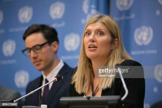AsiaPacific Director Tim Wright left looks on as ICAN Executive Director Beatrice Fihn addresses media during a press conference by the International...